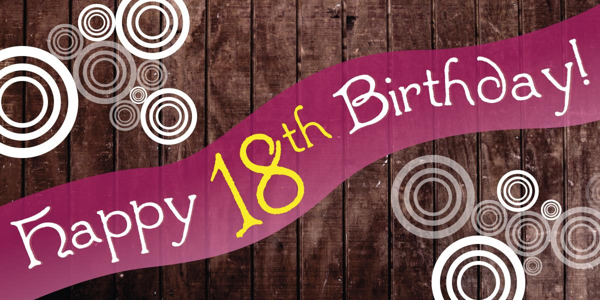 18th birthday banners ; BN-Wood-Background