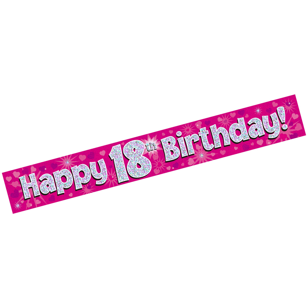 18th birthday banners ; WEBXL-676128-Banner-Happy-18th-Birthday-Pink-Holographic_2