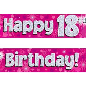 18th birthday banners ; pink-age-18-banner-big