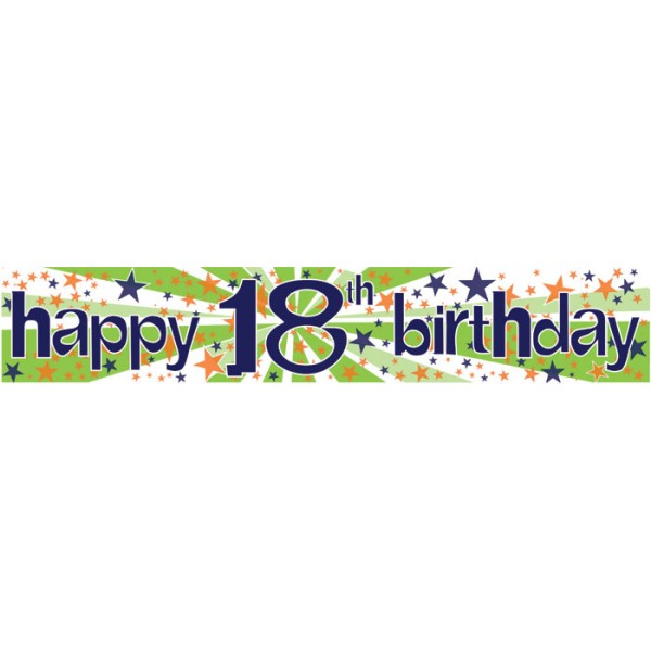 18th birthday banners personalized ; 18th-birthday-banner-green