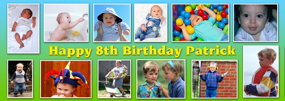 18th birthday banners personalized ; TIYL18-12-photo-banner-child