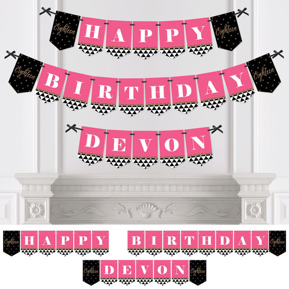 18th birthday banners personalized ; il_570xN