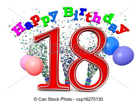 18th birthday clipart ; can-stock-photo_csp16275130