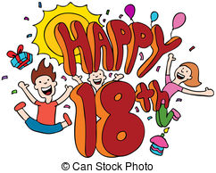 18th birthday clipart ; happy-18th-cartoon-isolated-on-a-white-background-illustration_csp3027622
