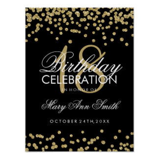 18th birthday poster ; 18th_birthday_gold_faux_glitter_confetti_black_poster-r2cdbeed51bde4dbf971922c4bc07186c_wve_8byvr_324