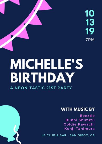18th birthday poster ; canva-dark-blue-with-neon-birthday-elements-birthday-poster-MACOhemZAS0
