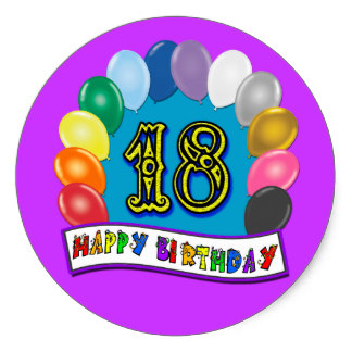 18th birthday stickers ; 18th_birthday_gifts_with_assorted_balloons_design_classic_round_sticker-r4f7f03407a10438ea994974ccf9b4f98_v9wth_8byvr_324