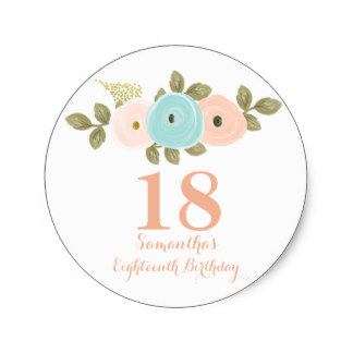 18th birthday tags ; peach_floral_watercolor_18th_birthday_girl_sticker-ra9d0c86690ea4415871244739460371d_v9waf_8byvr_324
