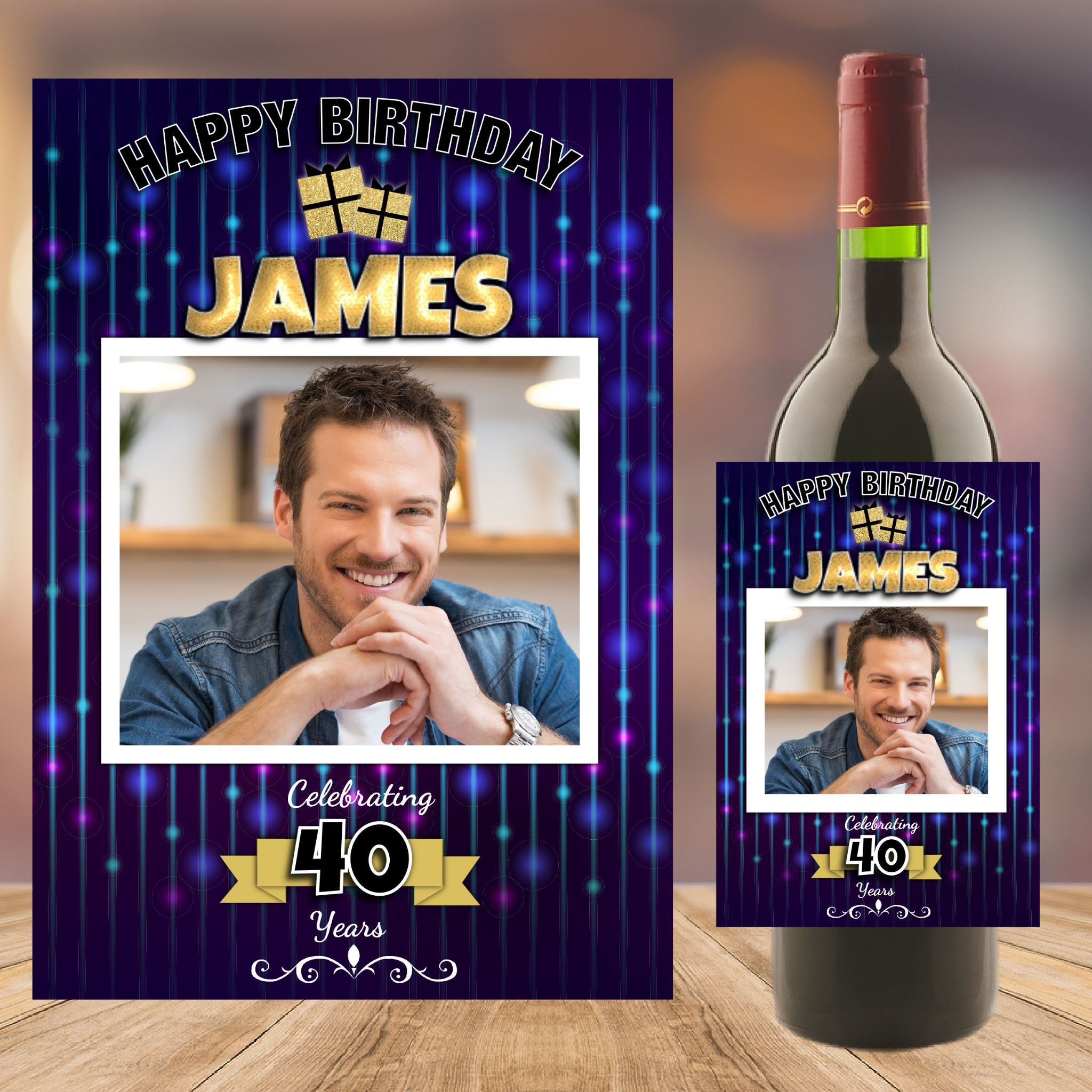 18th birthday wine labels ; personalised-blue-bokeh-happy-18th-21st-30th-40th-50th-birthday-wine-champagne-bottle-photo-label-n89-any-age--14746-p