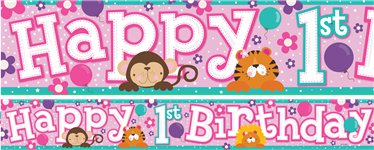 1st birthday banner design ; 1