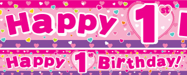 1st birthday banner design ; hearts-1st-birthday-banners-yban004_p60