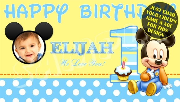 1st birthday banner design ; o_baby-mickey-mouse-custom-1st-birthday-banner-w-photo-e56a