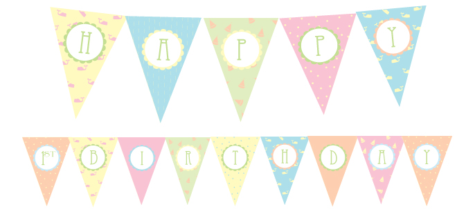 1st birthday banner template ; free-1st-birthday-party-printables