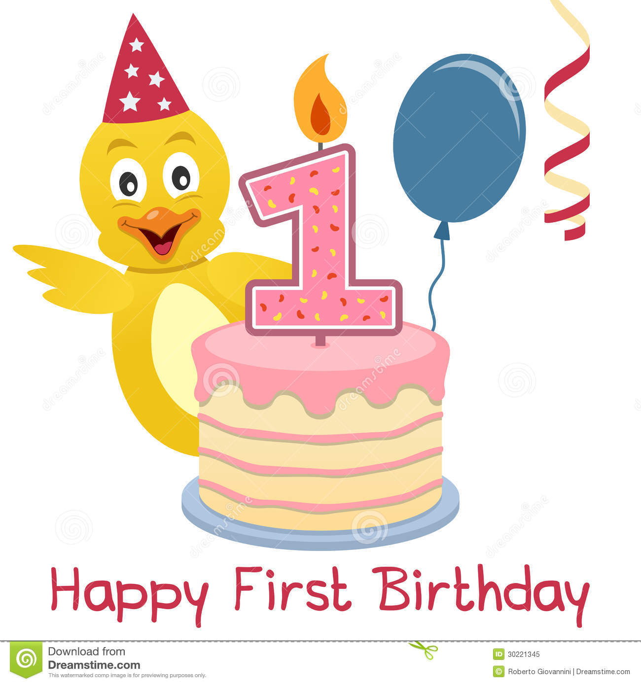 1st birthday card wishes ; happy-first-birthday-greeting-card-funny-cute-chick-birthday-cake-numbered-candle-red-balloon-blue-streamer-30221345