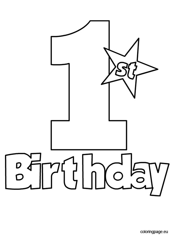 1st birthday coloring pages ; 1st-birthday-coloring