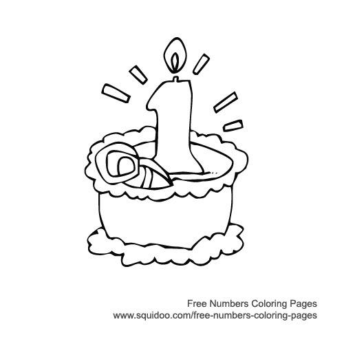 1st birthday coloring pages ; Numbers-Birthday-Cakes-1