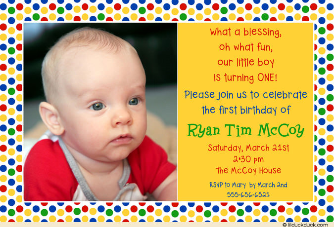 1st birthday invitation quotes for baby boy ; primary-colored-sesame-street-polka-dot-photo-birthday-invitation