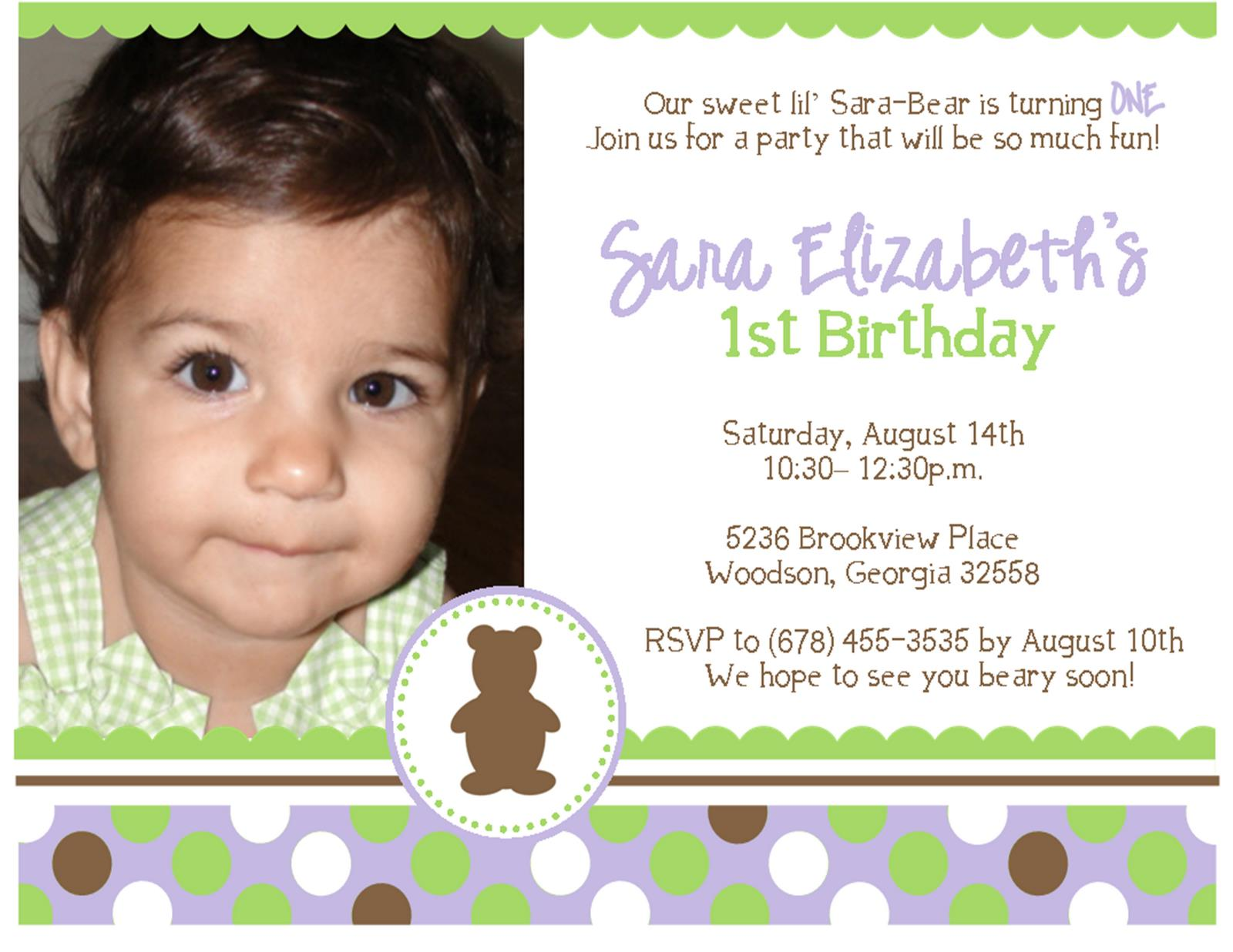 1st Birthday Invitation Quotes For Daughter Baby Boy First