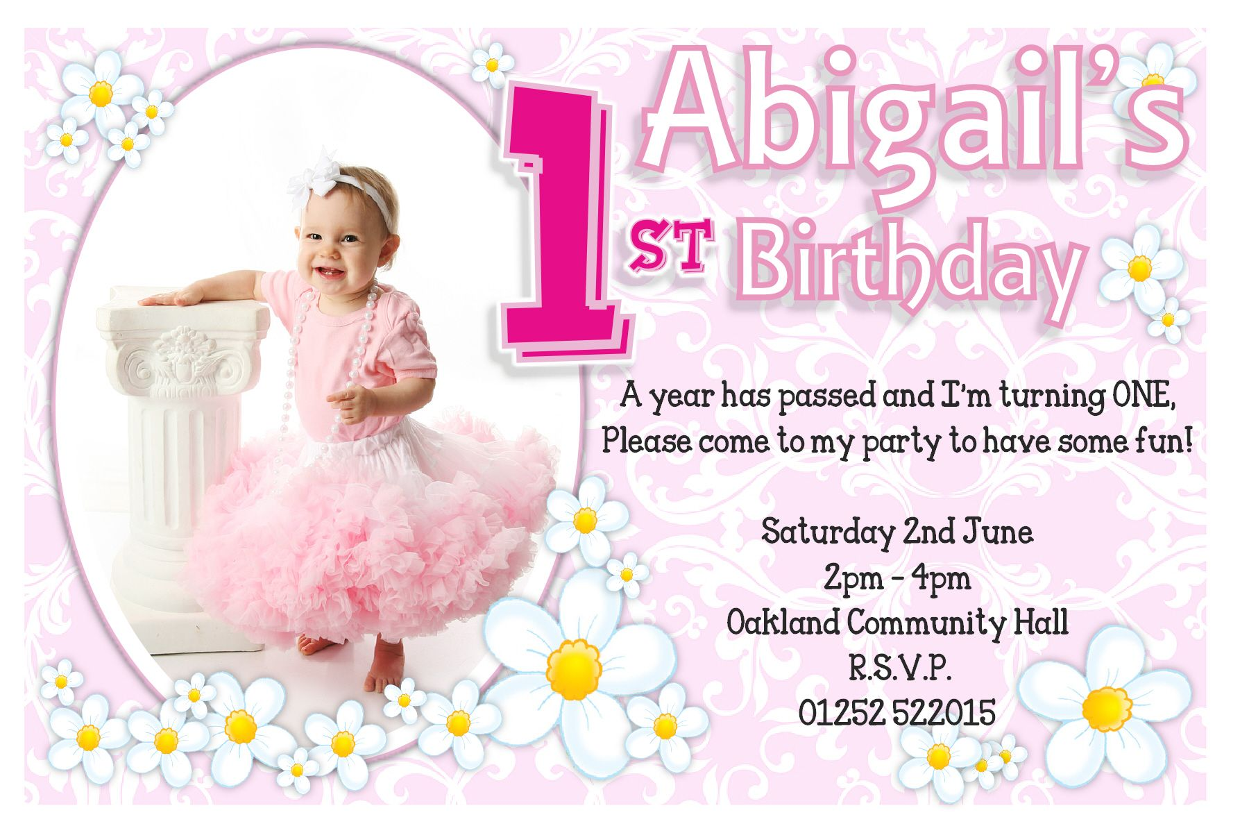 1st birthday invitation quotes for daughter ; Flower-1st-Birthday-Invitations-For-Girl