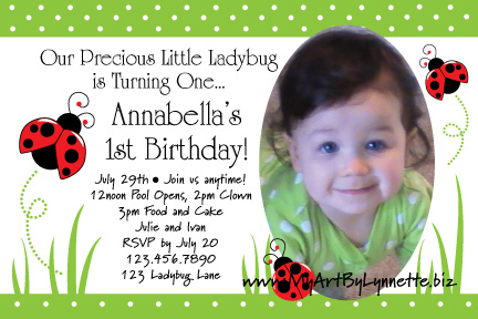 1st birthday invitation quotes for daughter ; Ladybug-grass_4x6-Anna