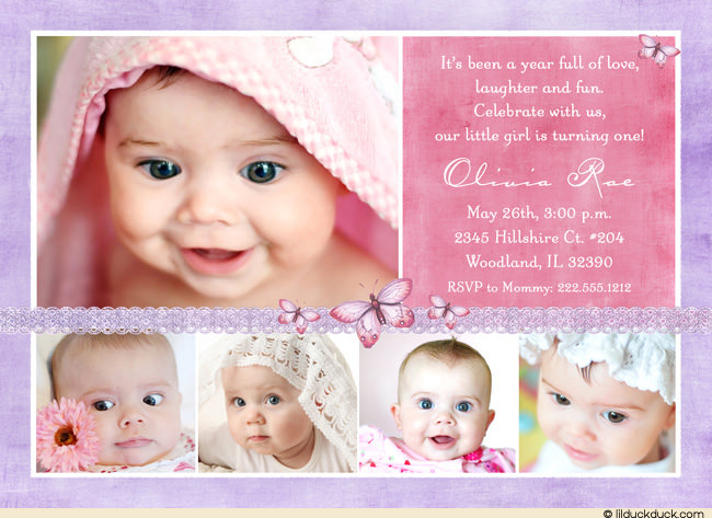 1st birthday invitation quotes for daughter ; butterfly-collage-birthday-purple-pink-5-photo