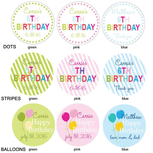 1st birthday labels ; Personalized-Birthday-Labels-kids---details