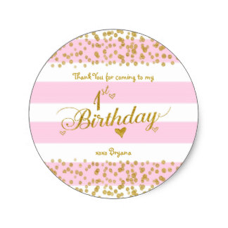 1st birthday labels ; pink_white_gold_1st_birthday_party_girl_stickers-rc20be8ea9fd046c5b1e6653478fc57d7_v9waf_8byvr_324