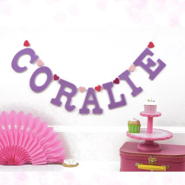 1st birthday name banner ; Personalised-1st-birthday-party-banner-baby-name-letter-buntings-room-lavender-garland-craft-baby-shower-decorations