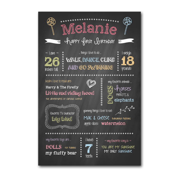 1st birthday poster template ; birthday-chalkboard-poster-template