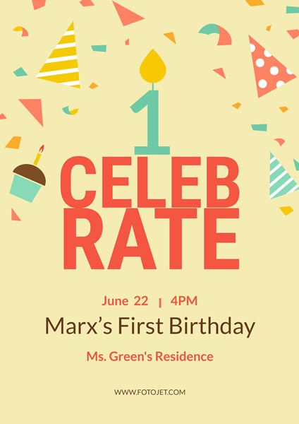 1st birthday poster template ; marx-first-birthday-poster