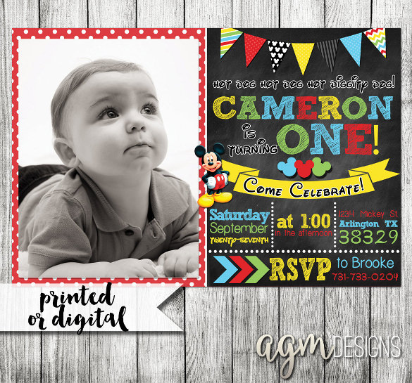 1st birthday poster template free ; Mickey-Mouse-First-Birthday-Invitation