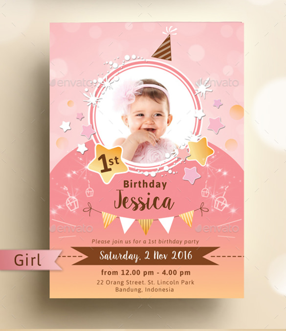 1st birthday poster template free ; Sparkling-Kids-Birthday-Party-Invitation