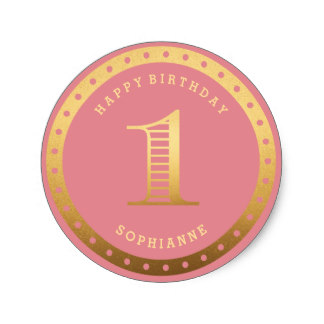 1st birthday stickers personalized ; custom_color_gold_pink_first_birthday_stickers-r487109cfe57b404facfab84a69640621_v9waf_8byvr_324