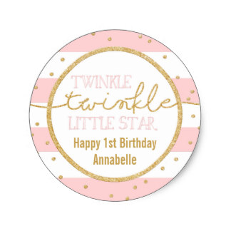 1st birthday stickers personalized ; twinkle_twinkle_pink_and_gold_birthday_sticker-r587c257226a04e63b135cf99870be57c_v9waf_8byvr_324