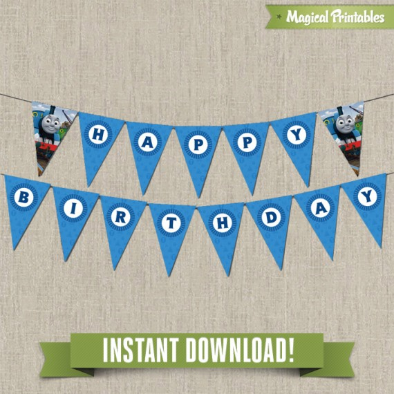 2 birthday banner ; Thomas-the-Train-Banner-with-spacers-570x570