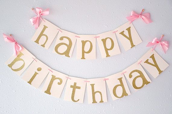 2 birthday banner ; pink-and-gold-birthday-party-decorarations-ships-in-2-5-business-days-glitter-gold-happy-birthday-banner
