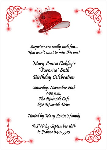 20th birthday invitation quotes ; 2050BD-Red-Hat