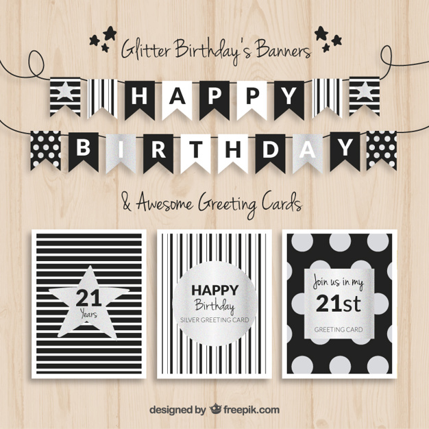 21st birthday banner templates free ; birthday-banners-and-cards-black-and-silver_23-2147518968