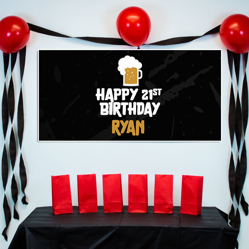 21st birthday banners personalized ; 21ST-BIRTHDAY-BEER-48X24-1
