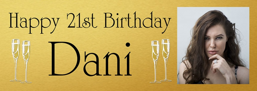 21st birthday banners personalized ; BB82-Gold-with-champagne-glasses