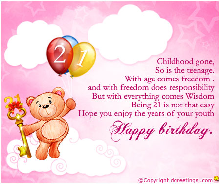21st birthday greeting card messages ; 21st-Birthday