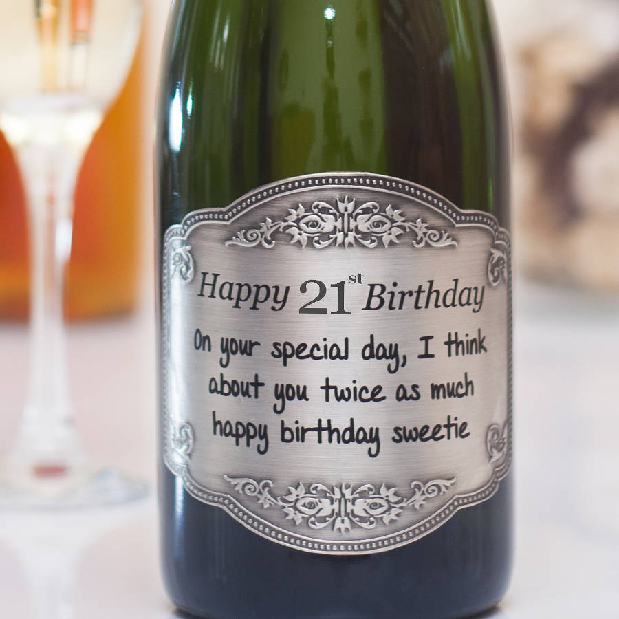 21st birthday labels ; original_personalised-21st-birthday-champagne-with-pewter-label