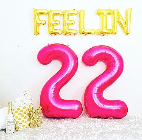 22nd birthday banner ; 607c4107129ed805231bee45db7de65d--large-balloons-number-balloons