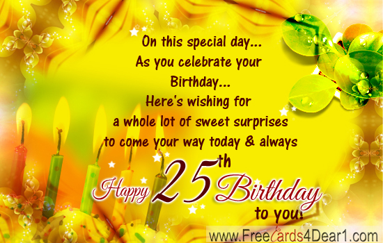 25th birthday messages greeting cards ; 25th-Birthday-Greetings