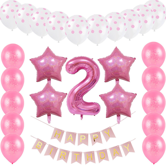 2nd birthday banners and balloons ; 26pcs-set-Happy-Birthday-Letters-Paperboard-Banners-Digital-2-Foil-Balloon-for-Kids-2nd-Birthday-Party