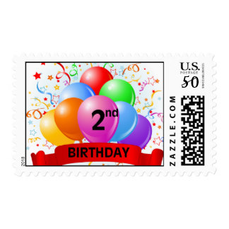 2nd birthday banners and balloons ; 2nd_birthday_banner_balloons_postage-r9607f987fd10471ab5e6097ee91bac2b_eqlls_8byvr_324