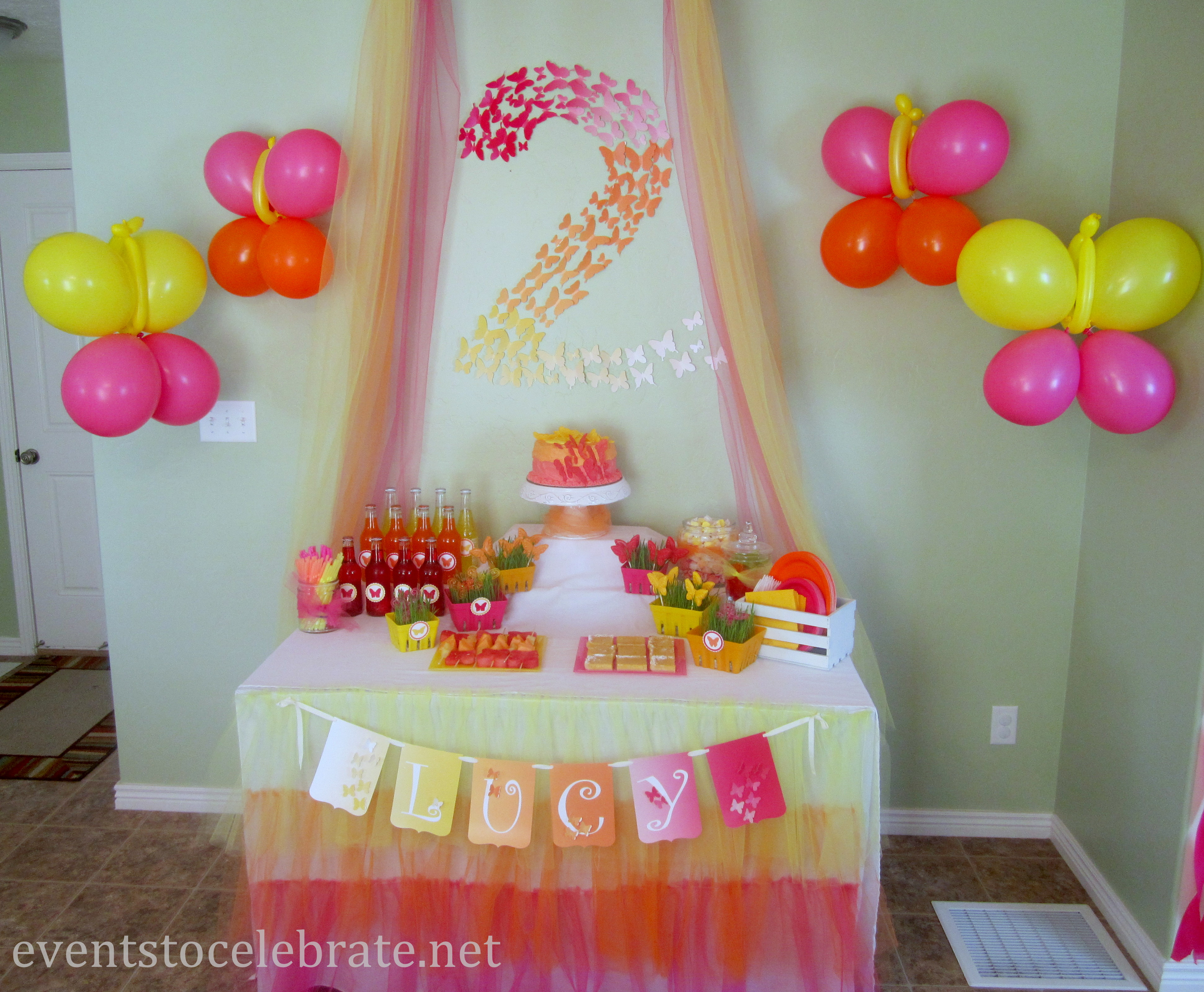 2nd birthday banners and balloons ; Butterfly-Themed-Party-eventstocelebrate