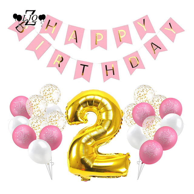 2nd birthday banners and balloons ; ZLJQ-32p-2nd-Birthday-Girl-Decoration-Kit-Party-Balloons-Pink-Happy-Birthday-Banner-Golden-Foil-Balloon
