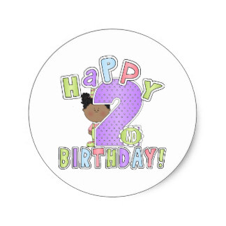 2nd birthday stickers ; girls_happy_2nd_birthday_african_american_classic_round_sticker-r9c097bf057a343d9a1d15716ad742ea2_v9waf_8byvr_324