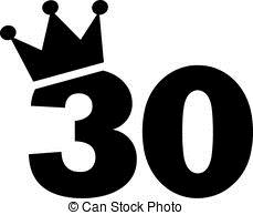 30th birthday clipart ; 30th-birthday-number-crown-eps-vector_csp43552542